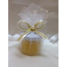 Бурканче с мед в бяло и златно