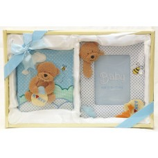 Луксозен комплект рамка и албум за снимки- Мече в синьо