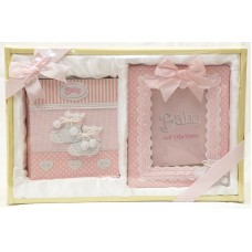 Луксозен комплект рамка и албум за снимки- Розови търлички