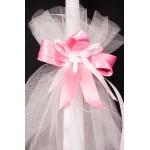 Свещ за кръщене Светло розова със седефено кръстче